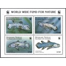 Comoros 1998 - Mi A 1264 to D 1264 - coelacanth ( prehistoric fish ) WWF - sheetlet 4 x 375 fc - MNH staple holes in the margin