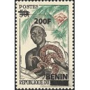 2009 - Mi 1495 - local overprint 200 f - Ouidah: witch doctor - rock python snake - MNH