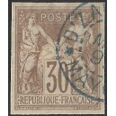 1876 - general issues of French colonies - Sage 30 c - cancelled D'zaoudzi Mayotte - CV 315 Euro