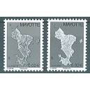 2006 / 2008 - Mayotte - Map of the island - Phil@poste - 0.02 € - 2 st. with different shades - MNH