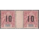 1912 - Grande-Comore - overprint 10 on 50 c - pair vith variety - MNH