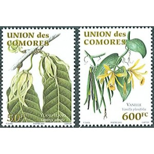 Comores 2003 - Mi 1791 et 1792 - plantes aromatiques : ylang-ylang & vanille - 2 val. **